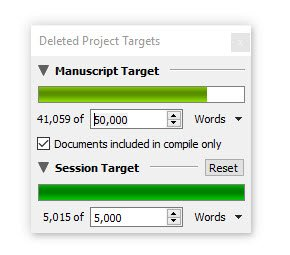 Deleted writing progress
