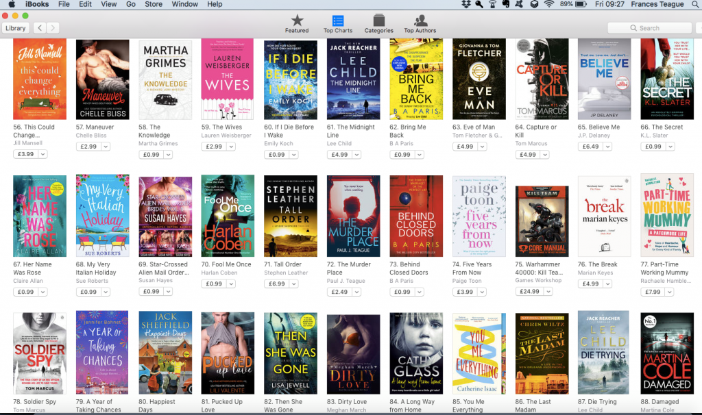 The Murder Place at number 72 in ALL paid iBooks