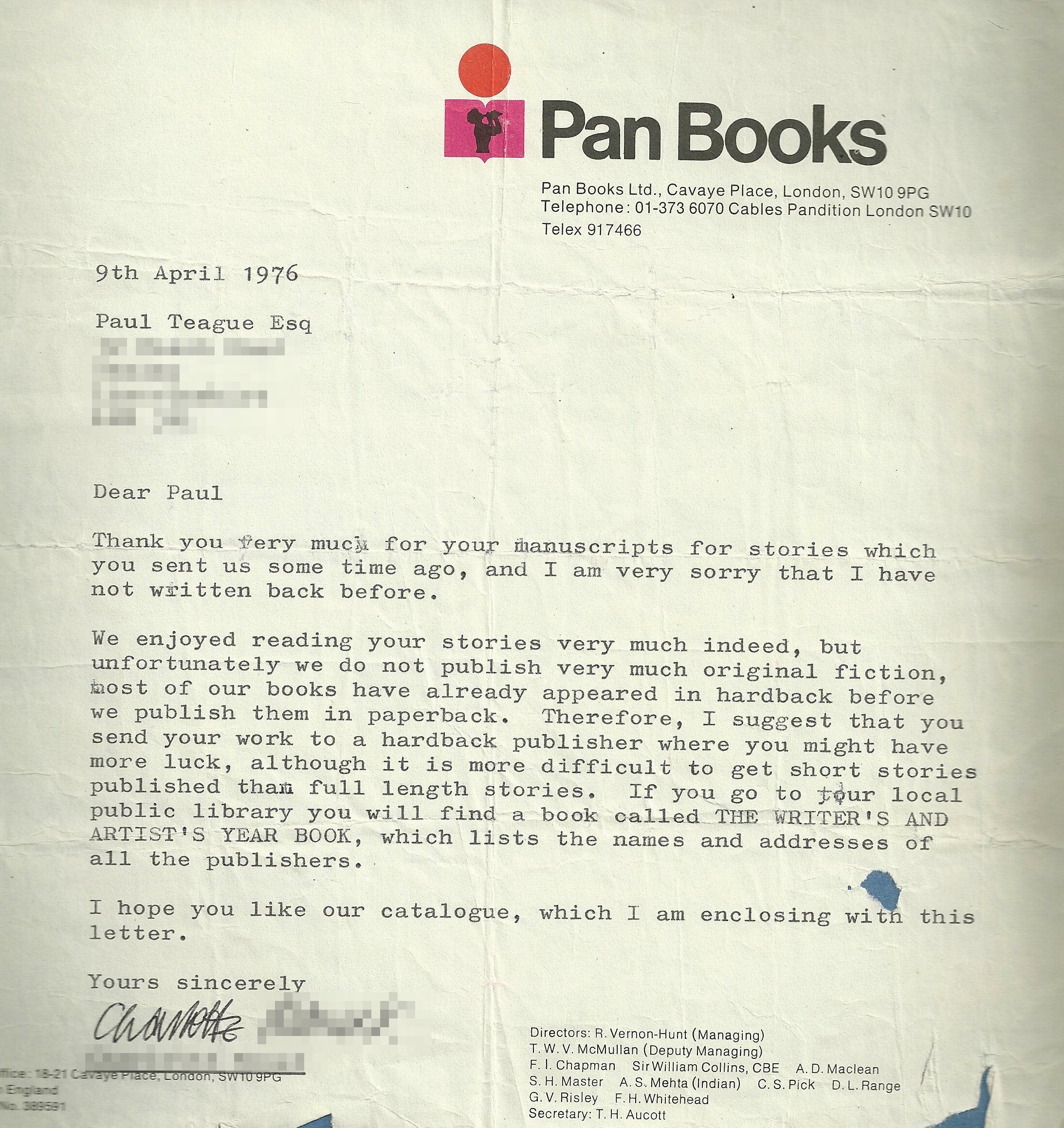 Pan Books rejection letter